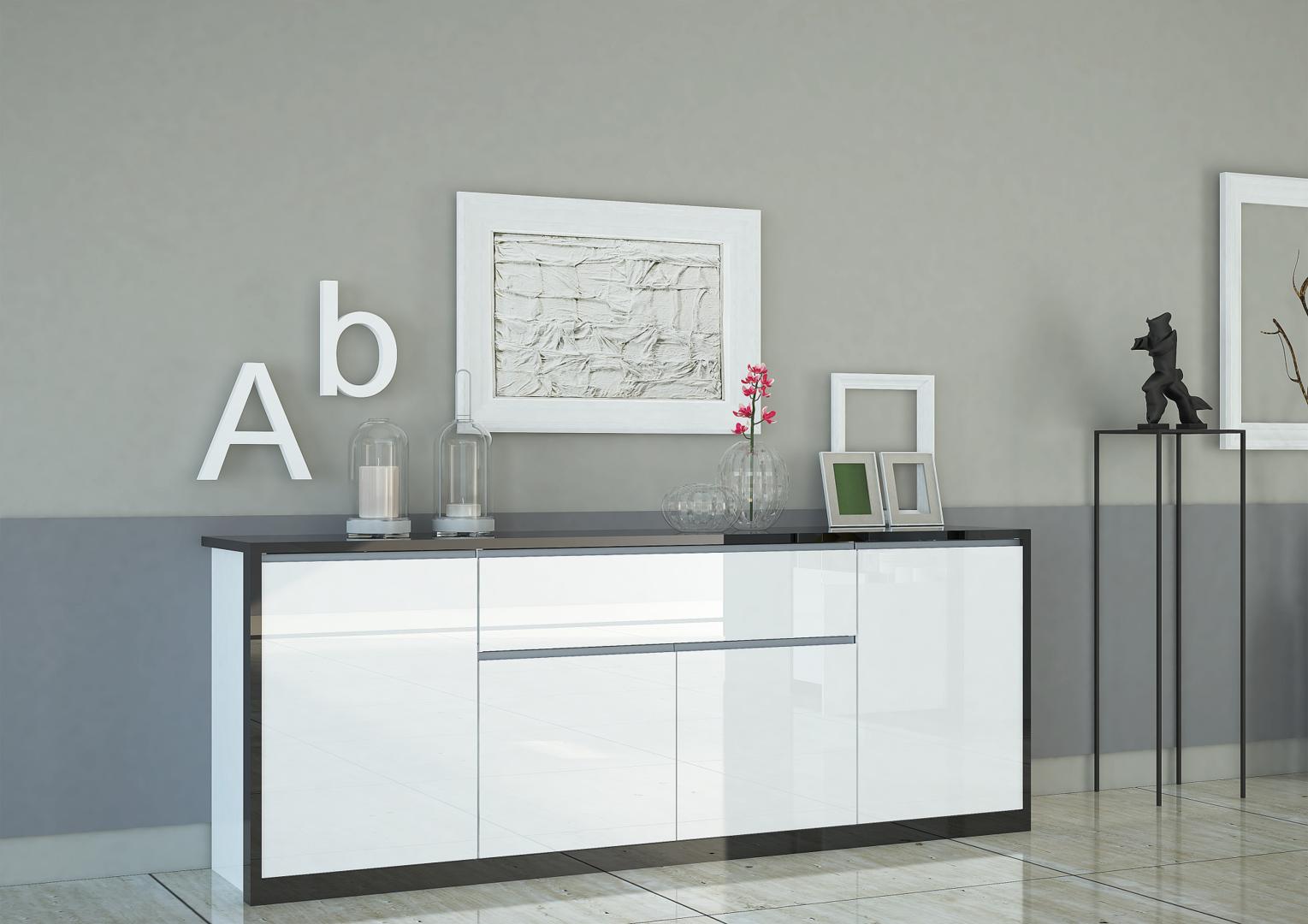 Madia bianca avana credenza moderna mobile soggiorno for Mobile soggiorno bianco