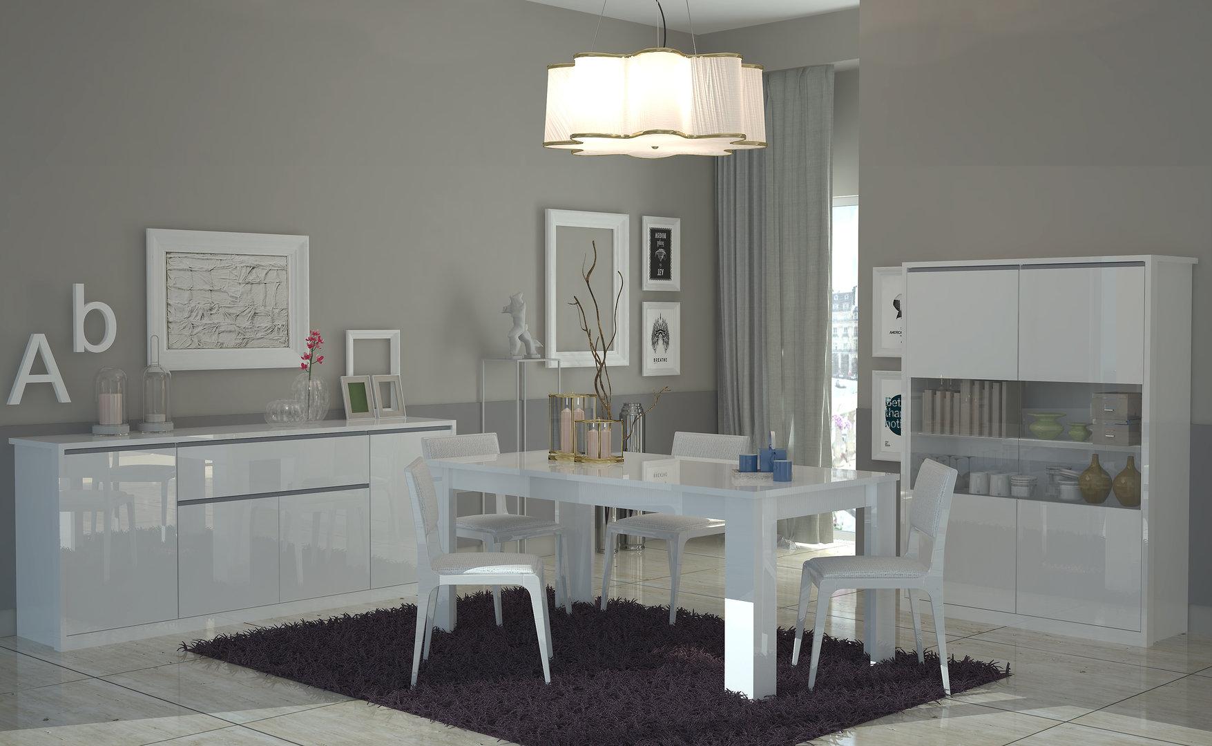 Madia bianca Avana, credenza moderna, mobile soggiorno