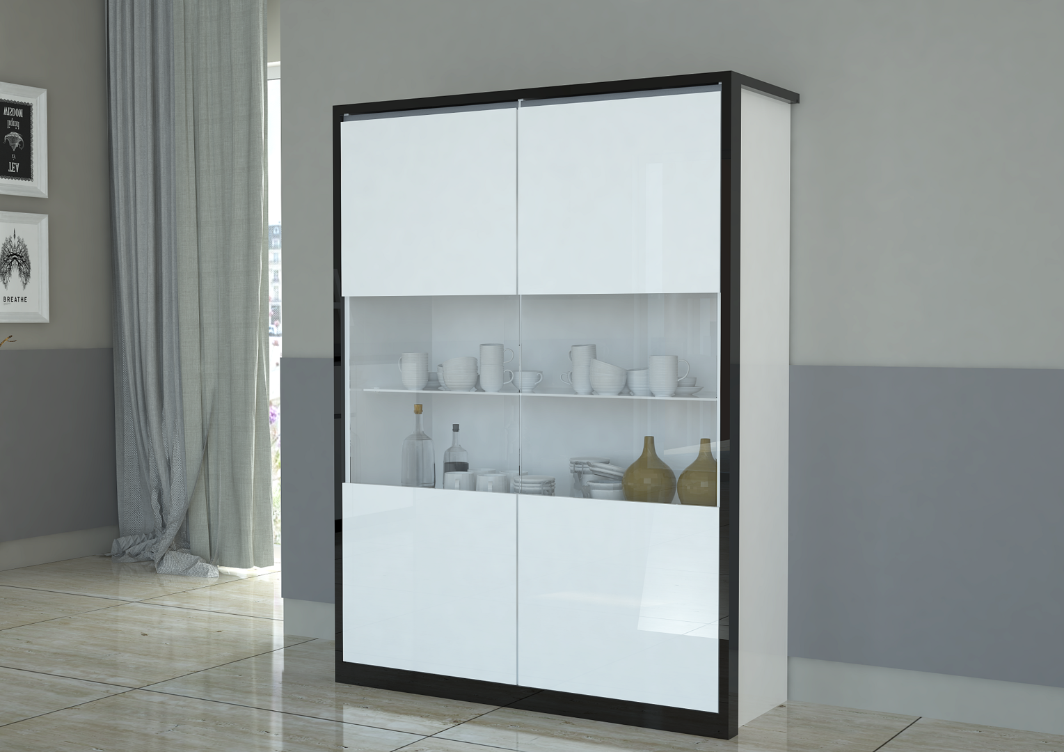 Credenza Con Vetrina Moderna : Vetrina moderna avana credenza bianca mobile soggiorno design