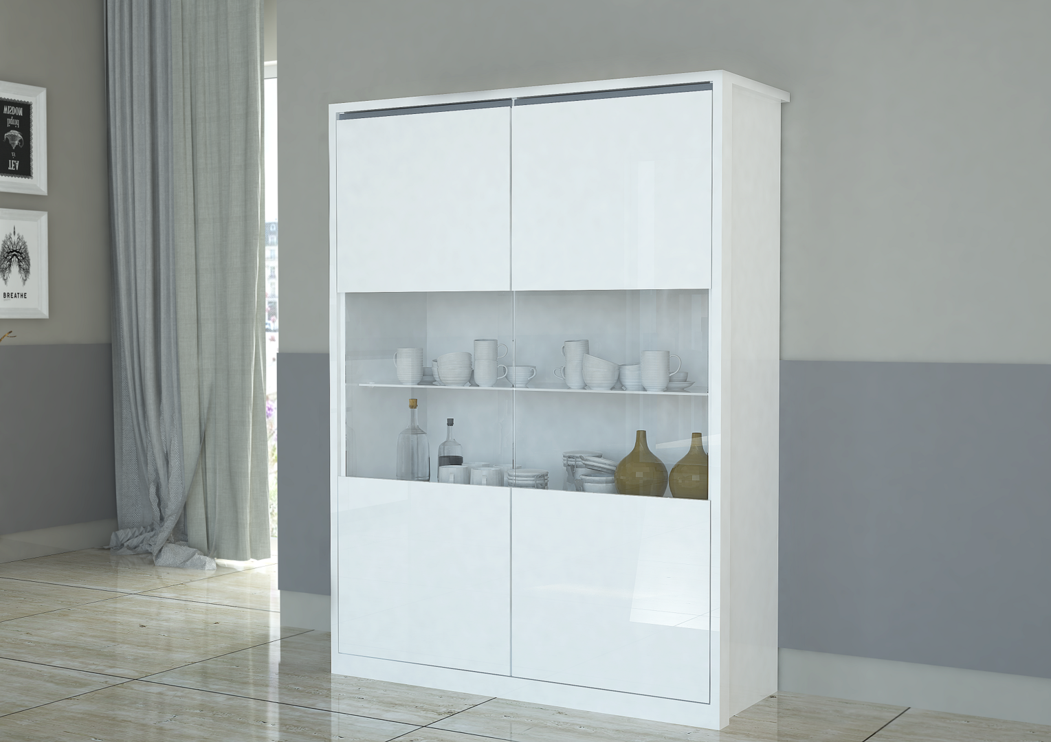 Vetrina moderna avana credenza bianca mobile soggiorno for Mobile soggiorno bianco