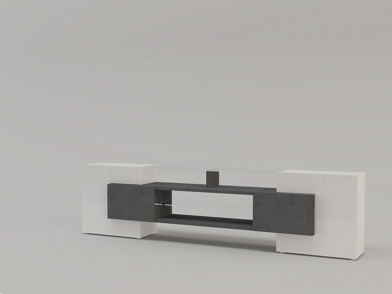 Porta tv moderno Dublino, mobile soggiorno bianco e grigio