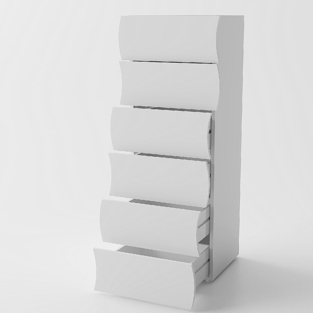 Cassettiera grande goccia 66 mobile bianco con 6 cassetti for Cassettiere design