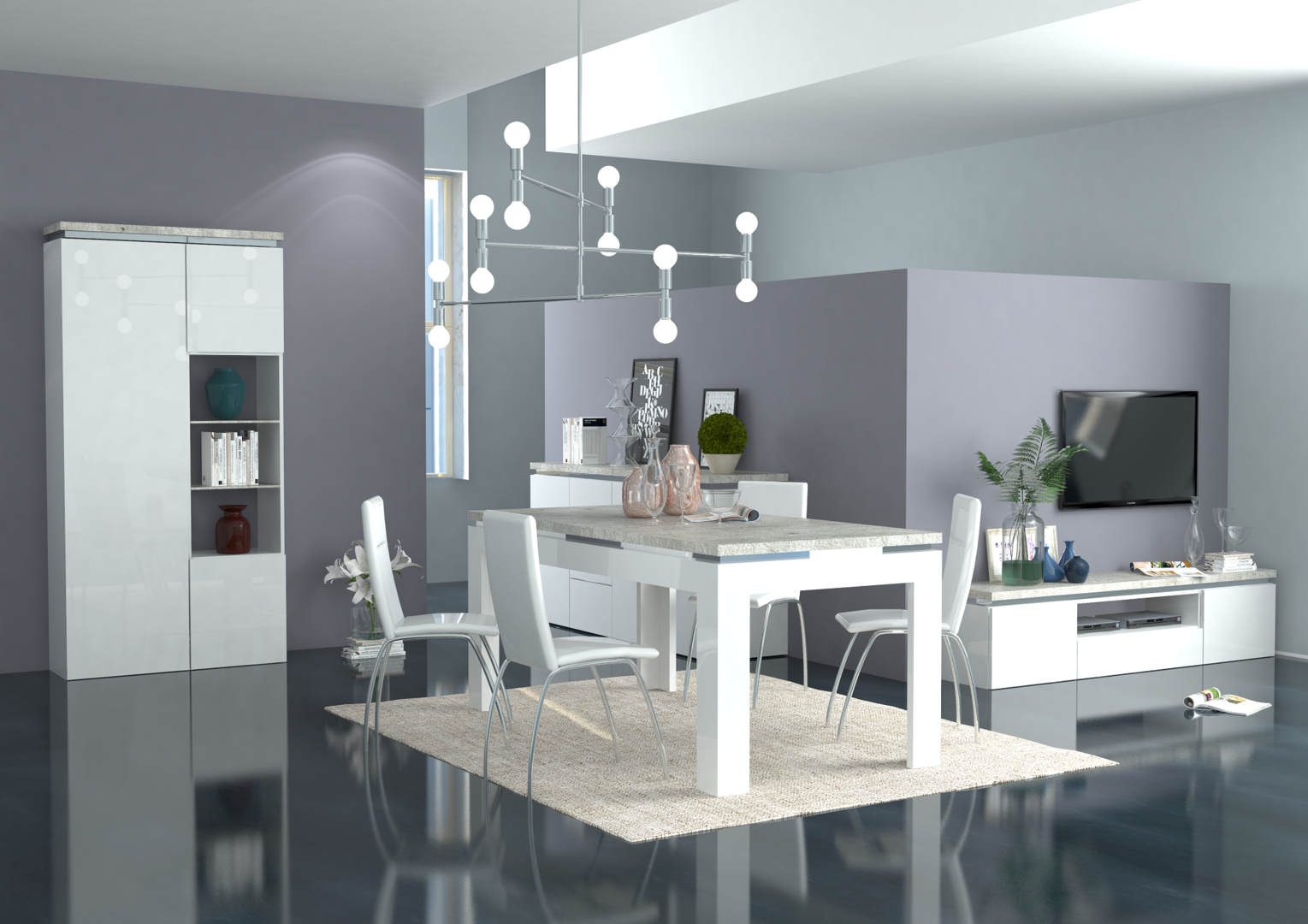 Tavolo moderno bianco messico mobile per sala da pranzo for Mobili sala pranzo