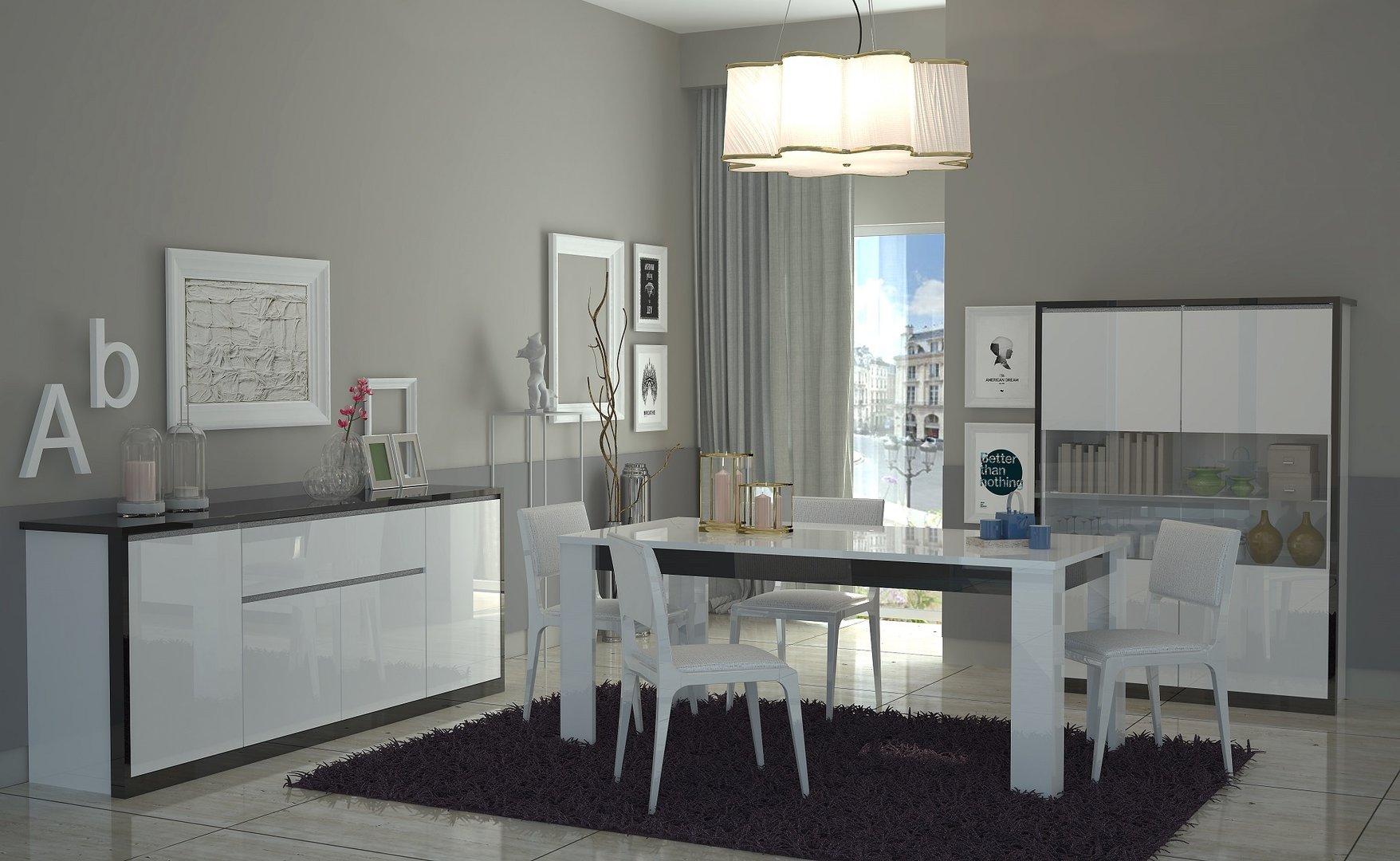 Tavolo bianco collezione avana mobile cucina sala da pranzo for Stanza da pranzo moderna