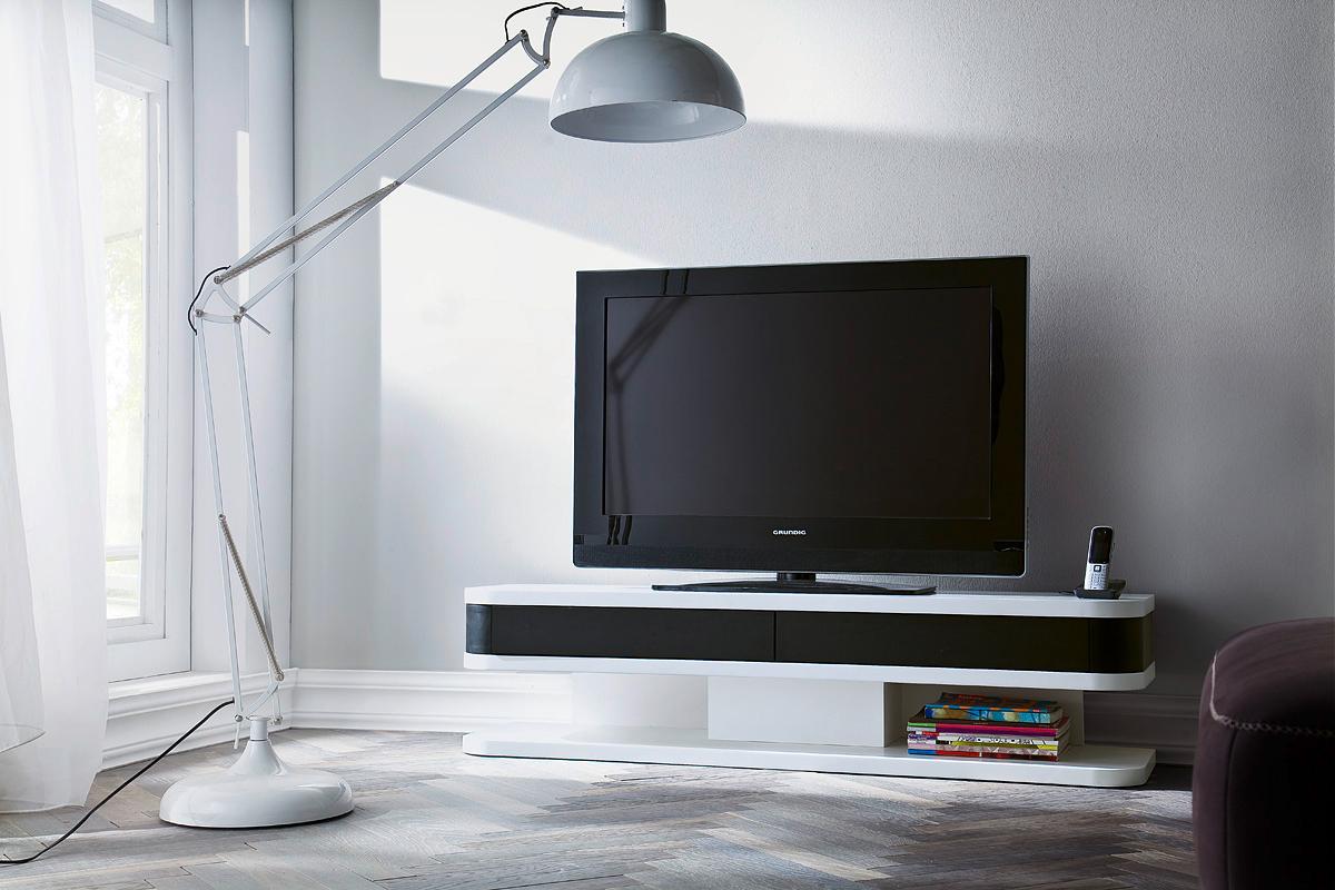 Mobile porta tv Small, bianco e nero, per soggiorno, portatv