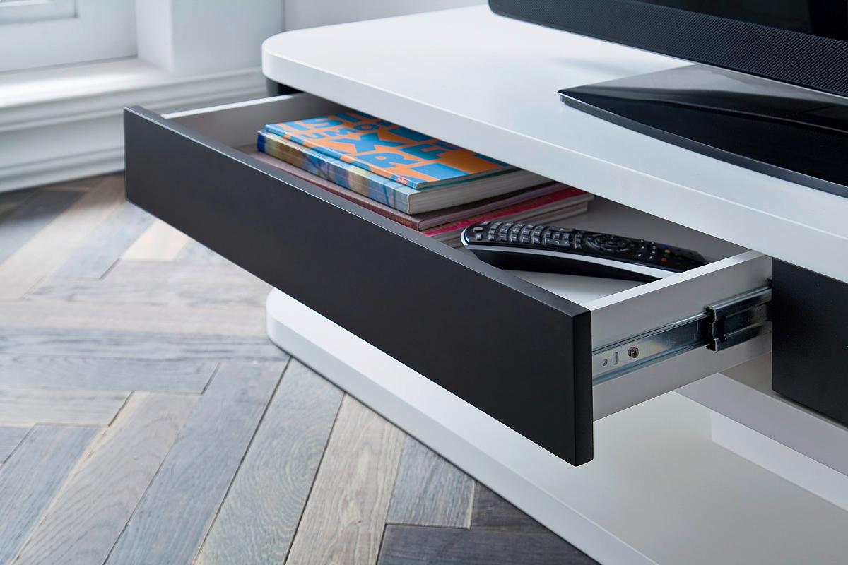 Mobile porta tv small bianco e nero per soggiorno portatv for Soggiorno bianco e nero