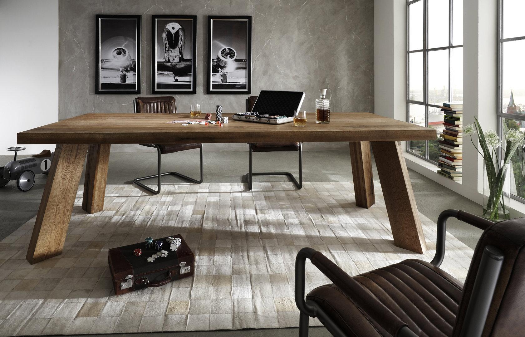 Tavolo da pranzo Monviso, mobile legno massiccio, design moderno