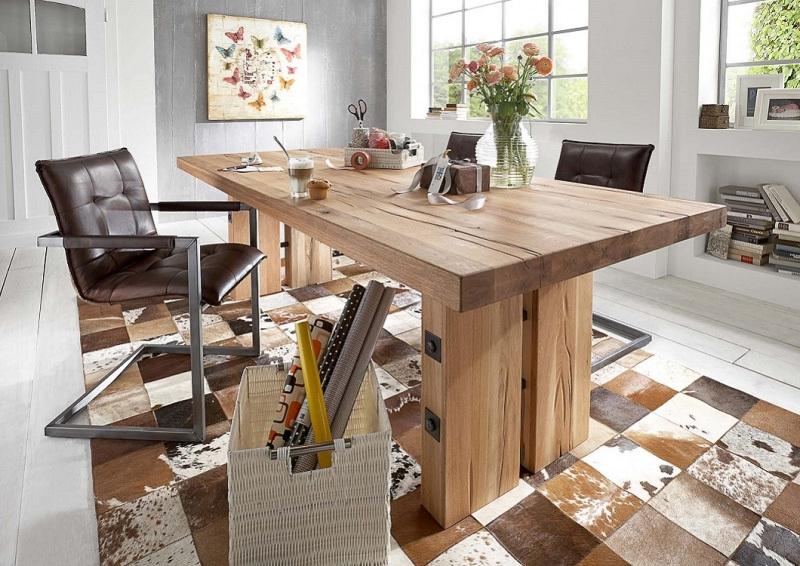 Tavolo in legno massiccio adamello mobile per cucina for Tavolo sala da pranzo moderno