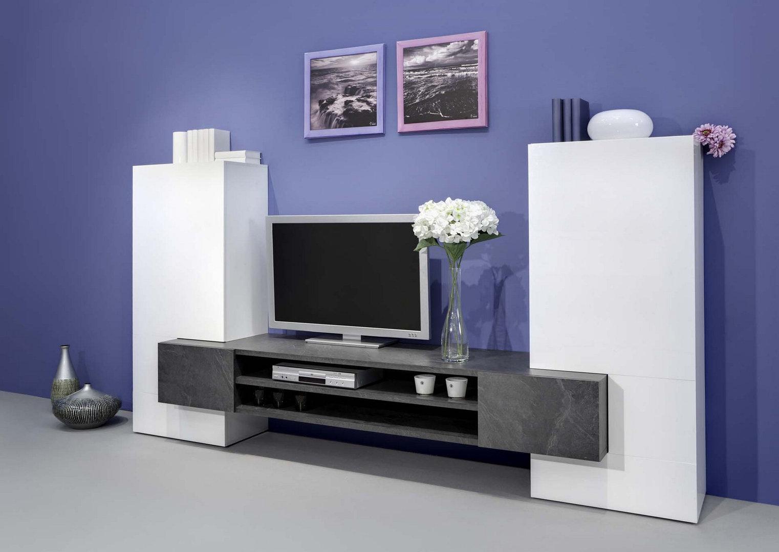 Soggiorno moderno luing jo mobile bianco composizione design for Soggiorno elegante