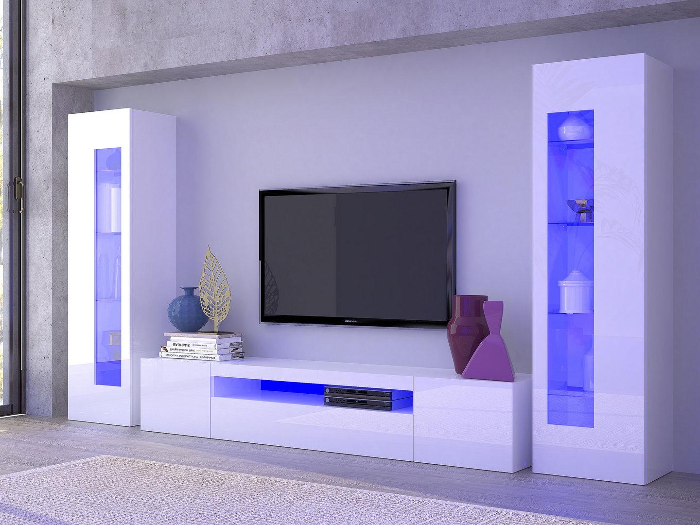 Mobile soggiorno tower porta tv e vetrine moderne soggiorno Mobile soggiorno bianco