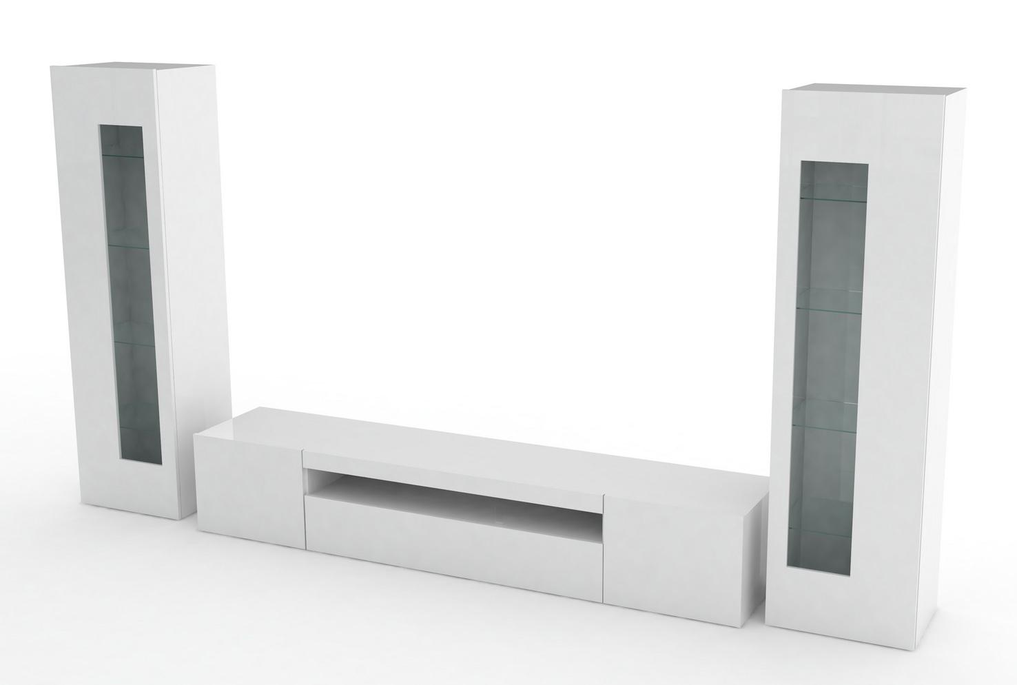 Mobile soggiorno Tower, porta tv e vetrine moderne, soggiorno