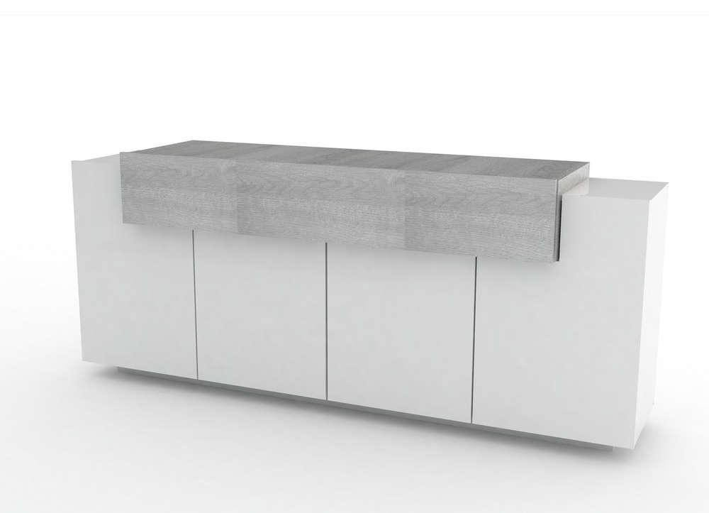 Credenza Moderna Grigia : Madia moderna biella mobile soggiorno bianco e rovere grigio