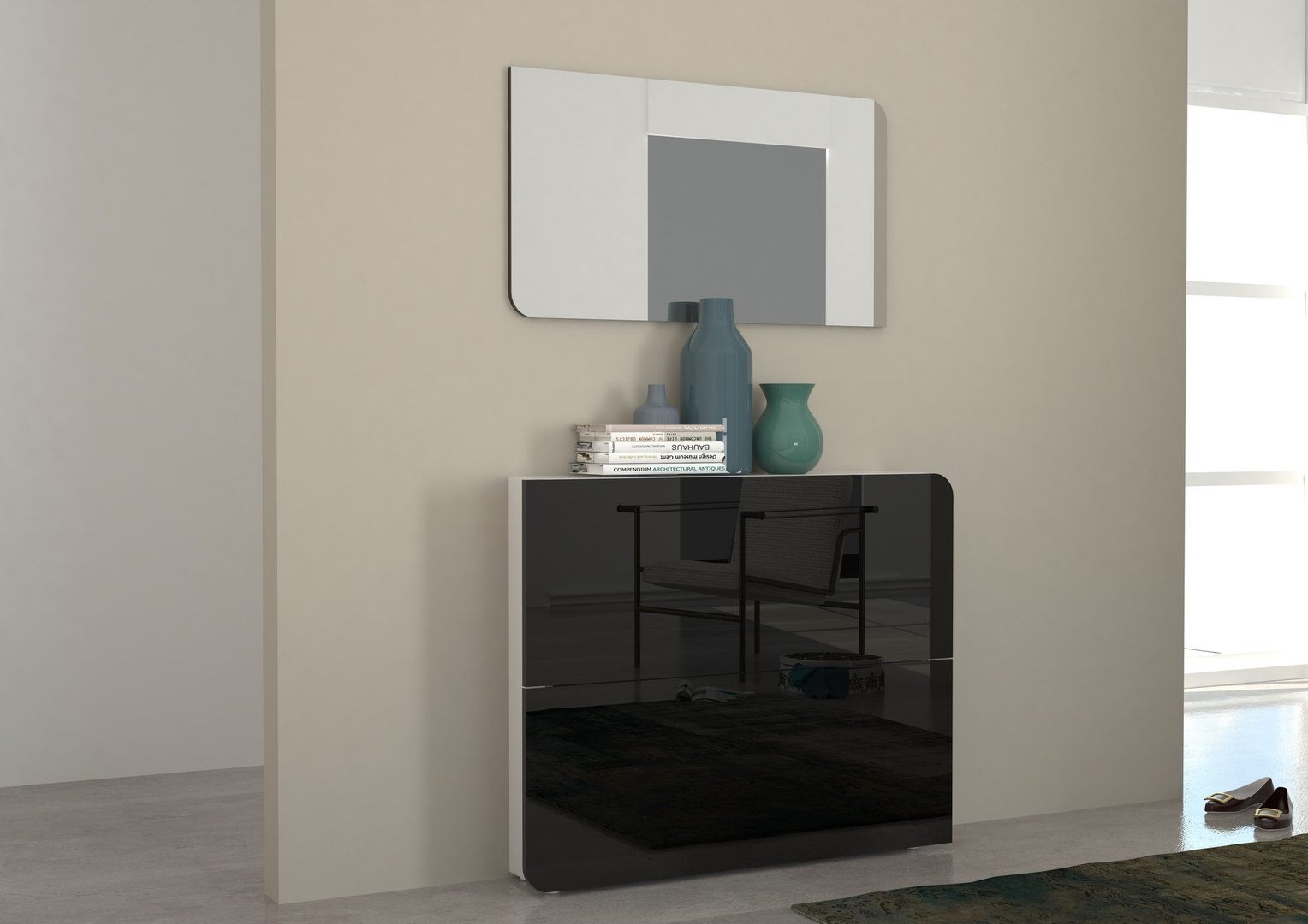 Scarpiera vita mobile ingresso bianco o nero con specchio for Scarpiera design ingresso