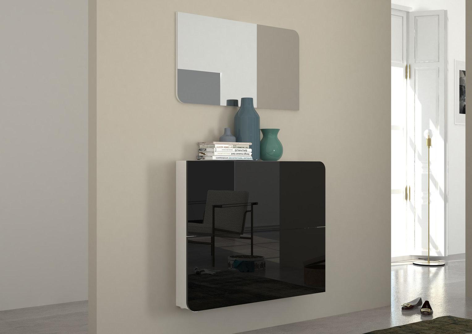 Scarpiera vita mobile ingresso bianco o nero con specchio - Mobile ingresso design ...