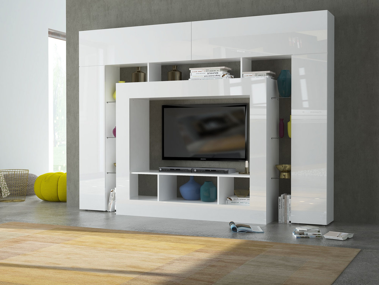 Soggiorno moderno monopoli mobile porta tv bianco di design for Soggiorno moderno bianco