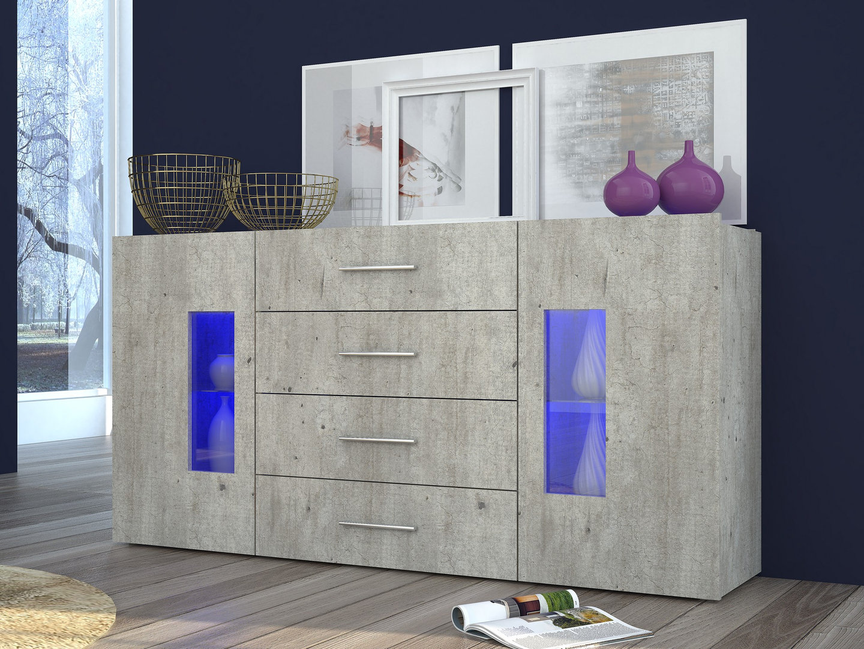 Credenza Con Led : Mobile soggiorno moderno tower madia credenza con vetrine e led
