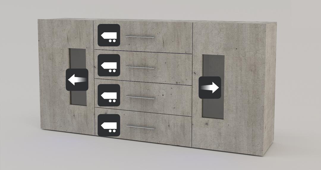 Credenza Con Vetrina Moderna : Mobile soggiorno moderno tower madia credenza con vetrine e led
