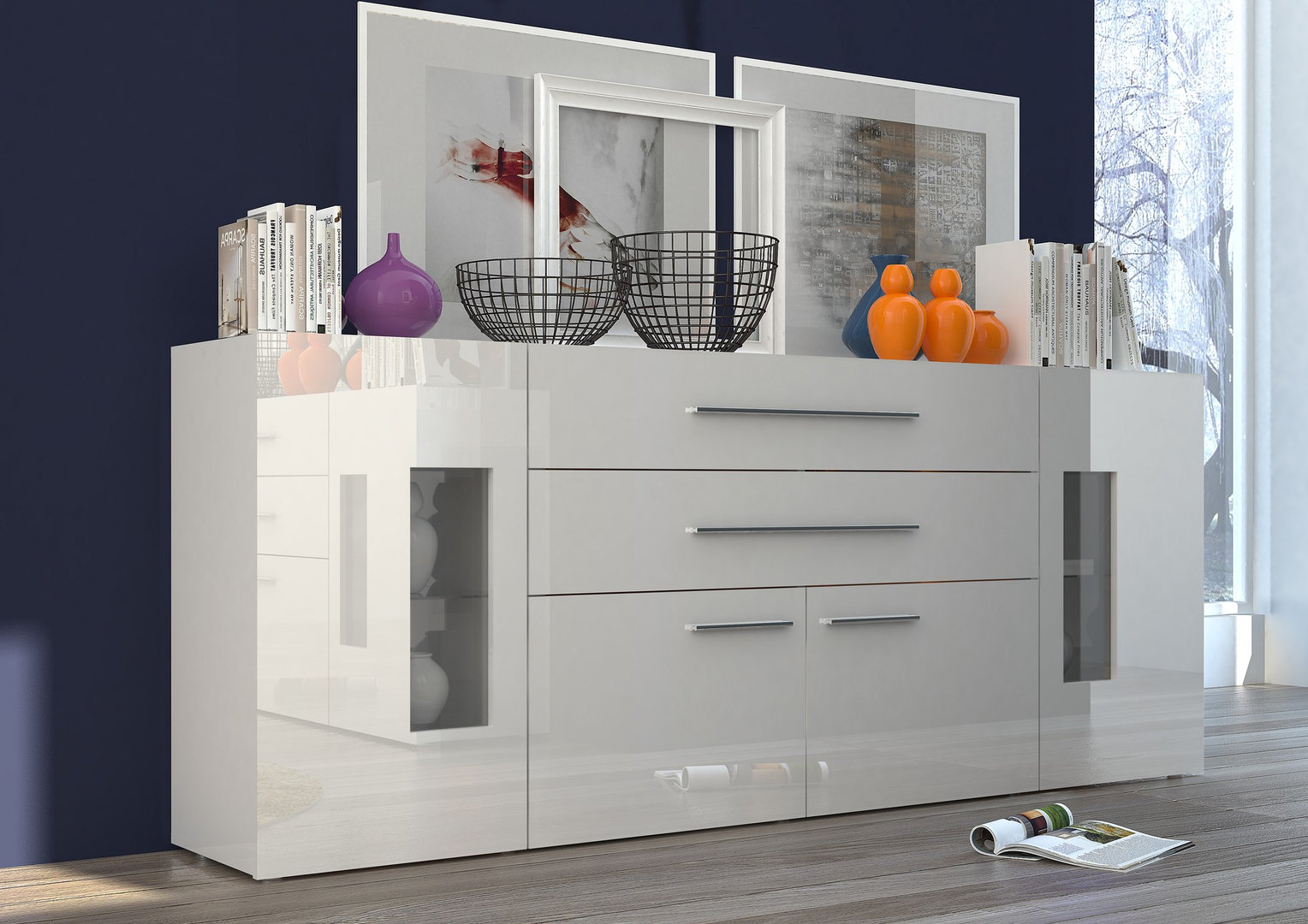Credenza Moderna Con Led : Credenza moderna tower 200 madia per soggiorno design