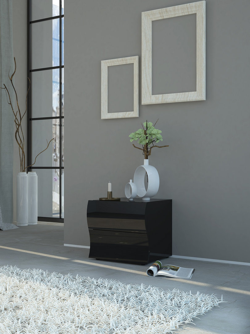 Comodino moderno Drop, bianco o nero, per camera da letto giovane