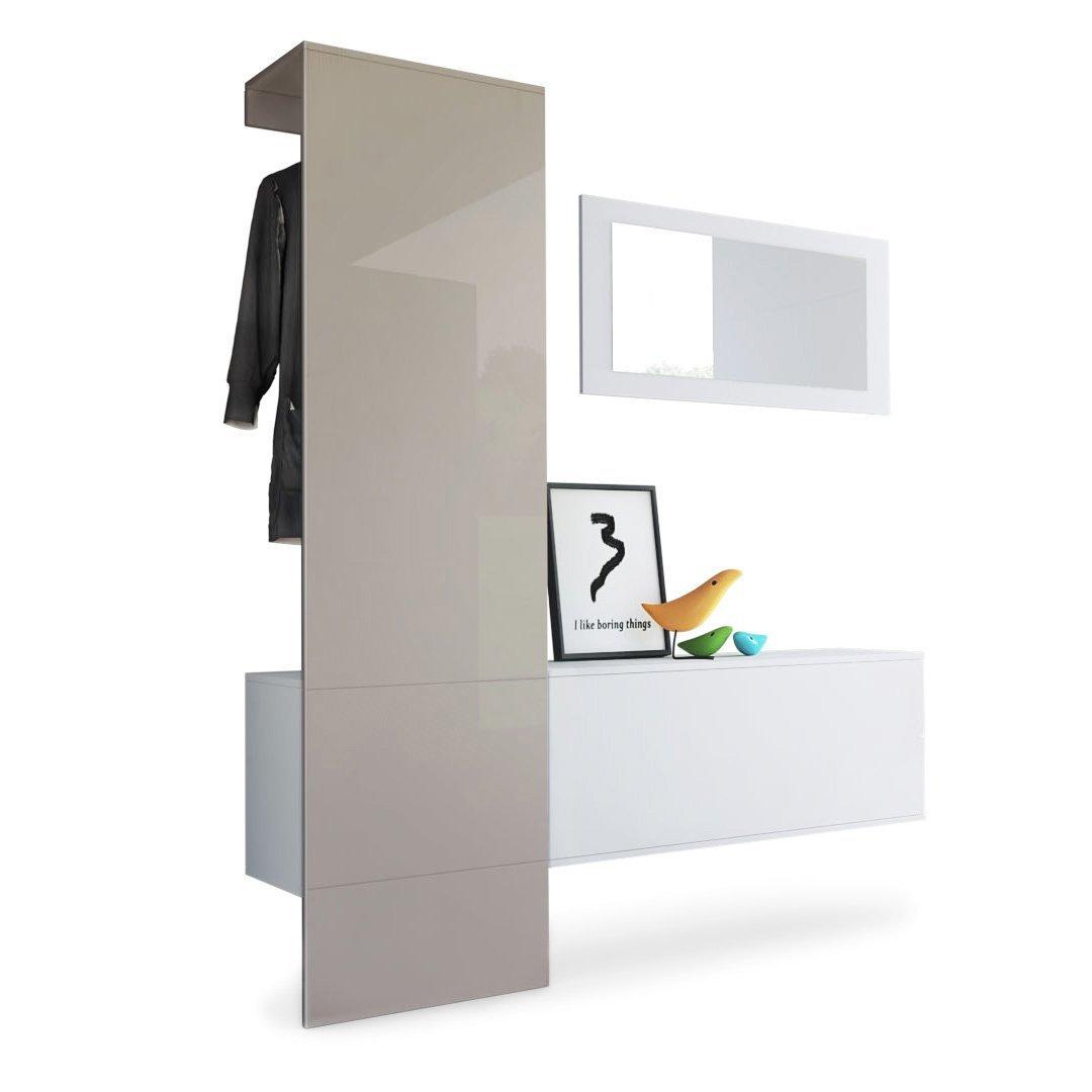 Mobile per ingresso neve 4 appendiabiti specchio e scarpiera - Mobile per corridoio ...