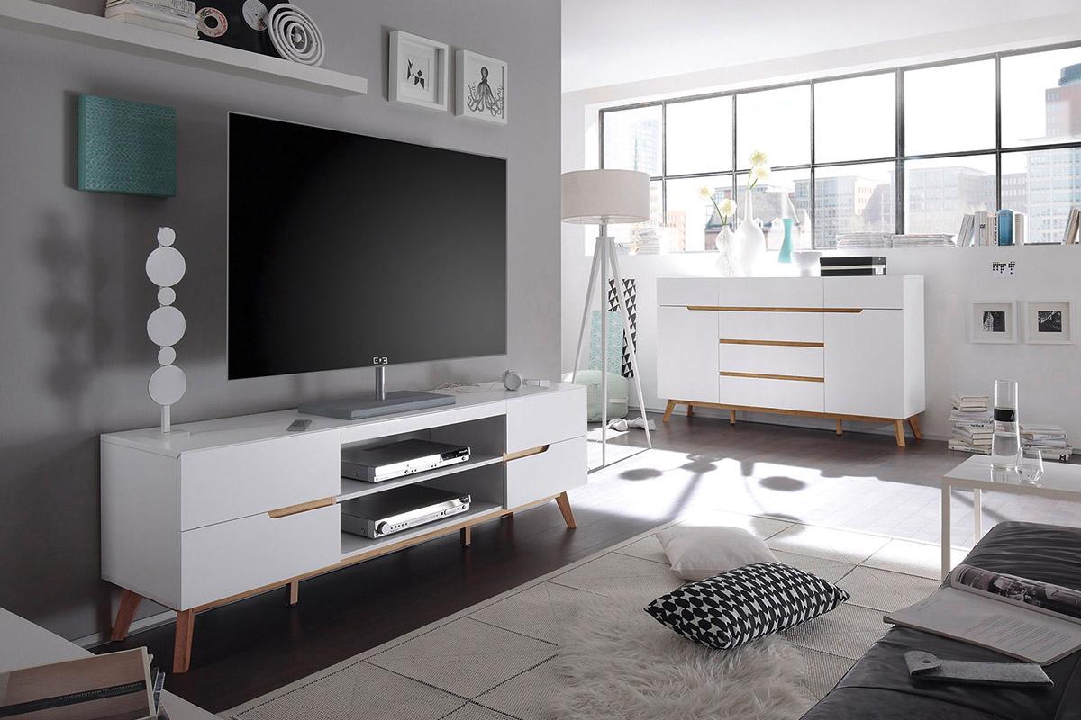 Alce porta tv bianco opaco e rovere mobile soggiorno moderno for Mobile sala design