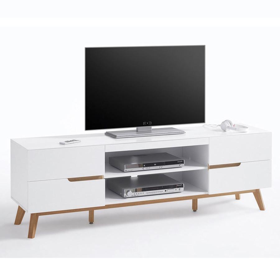 Alce porta tv bianco opaco e rovere mobile soggiorno moderno for Mobile soggiorno bianco