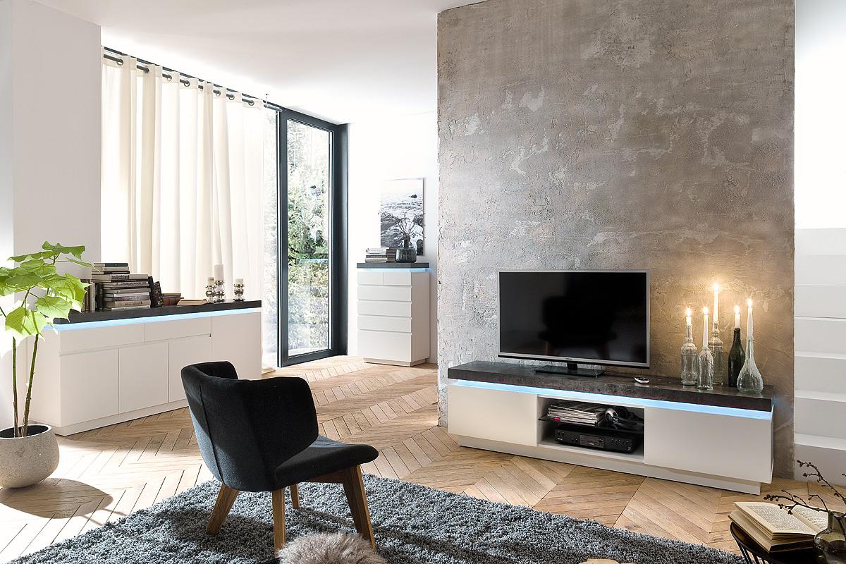 Porta tv Roulette, mobile soggiorno bianco e cemento