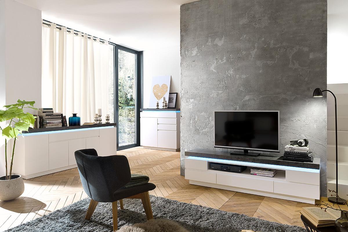 Porta tv roulette mobile soggiorno bianco e cemento for Soggiorno bianco