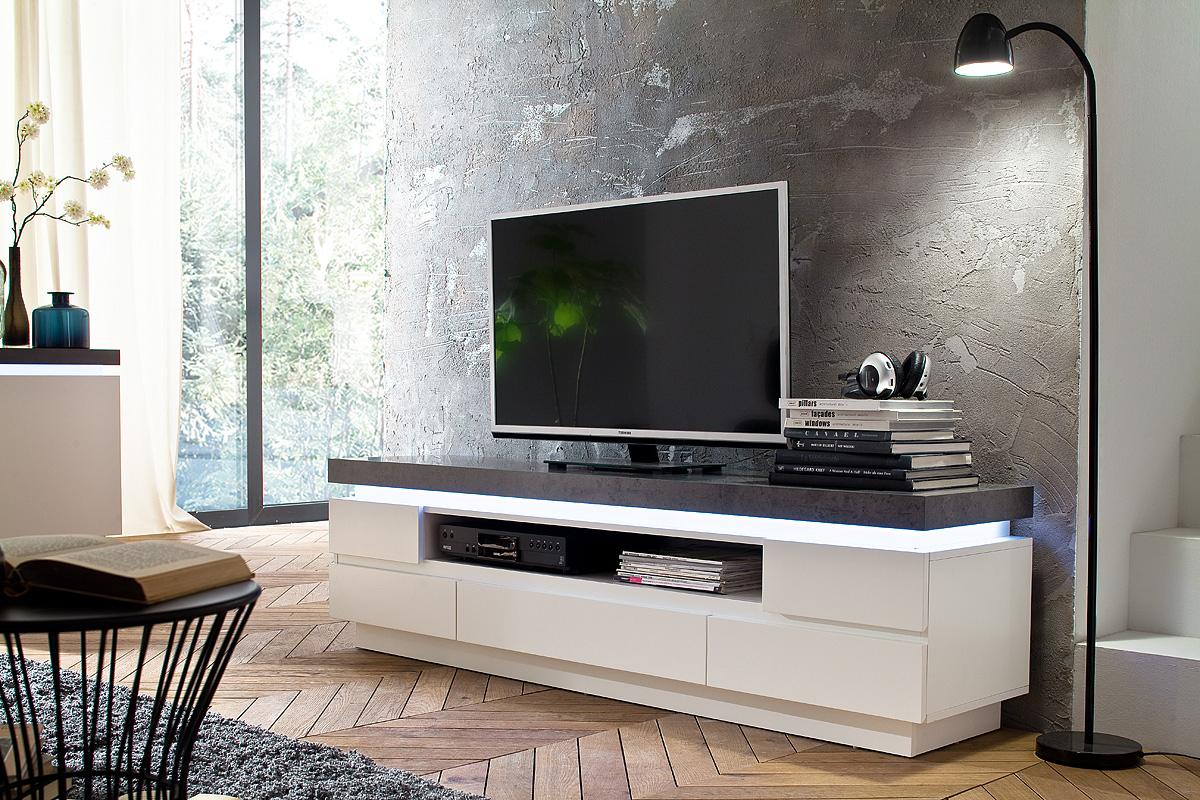 Porta tv roulette mobile soggiorno bianco e cemento for Mobile soggiorno bianco