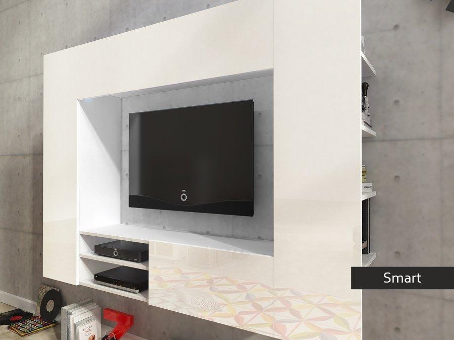 Soggiorno moderno bianco Smart, mobile porta tv appeso