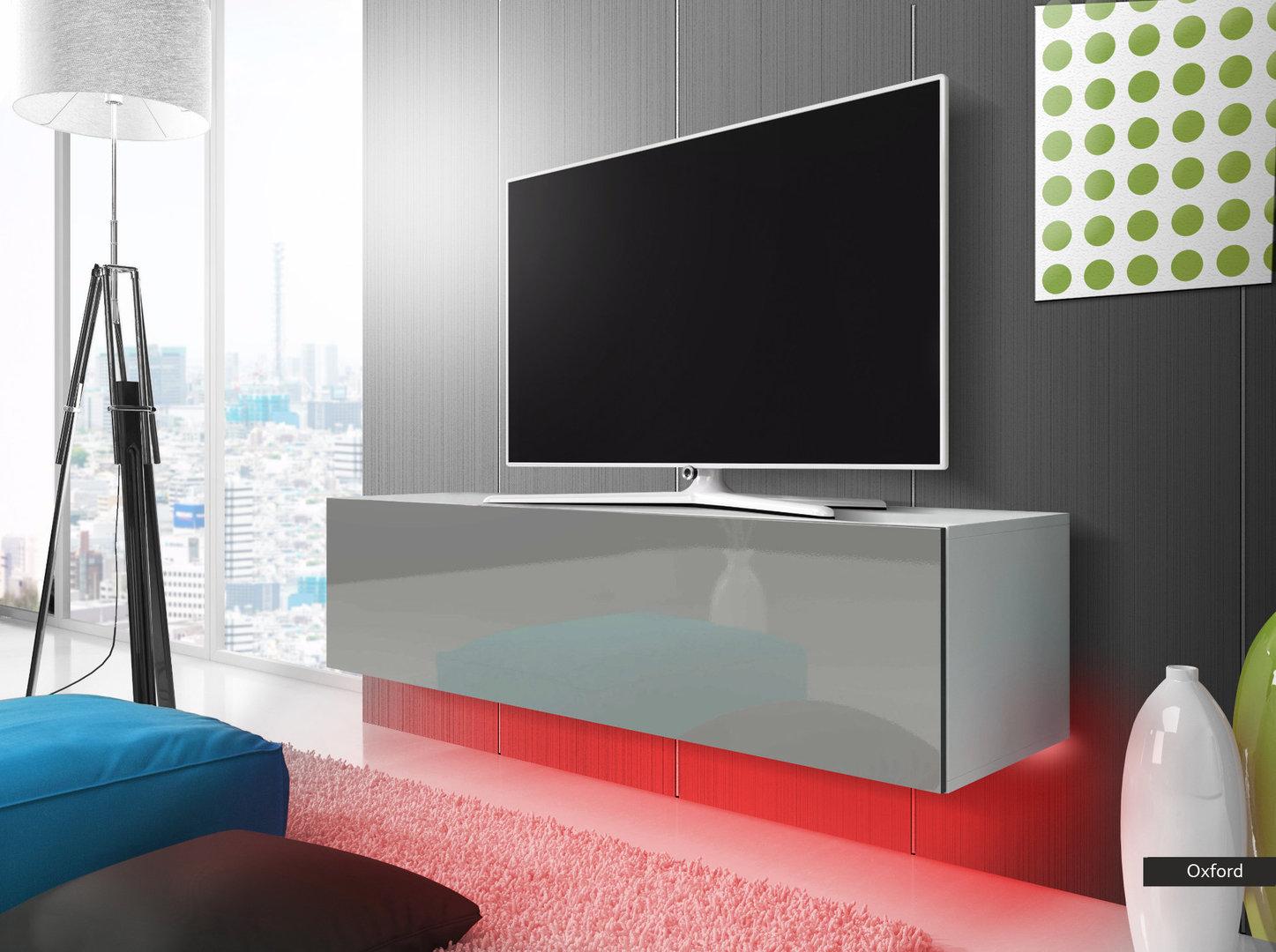 Oxford mobile porta tv moderno con luci a led, portatv