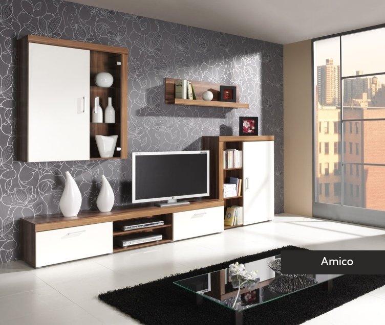 Composizione soggiorno amico mobile parete porta tv in 4 Mobile soggiorno bianco