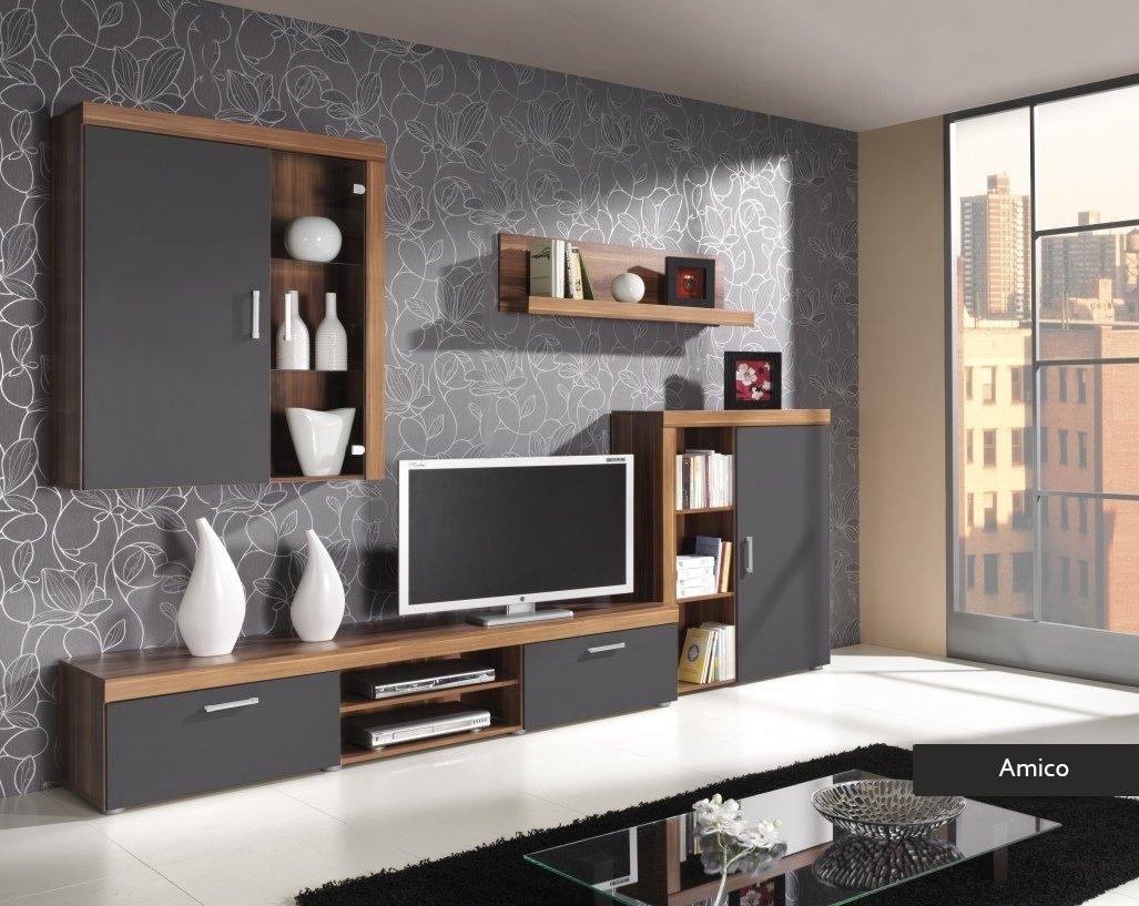 Composizione soggiorno Amico, mobile parete, porta tv in 4 colori
