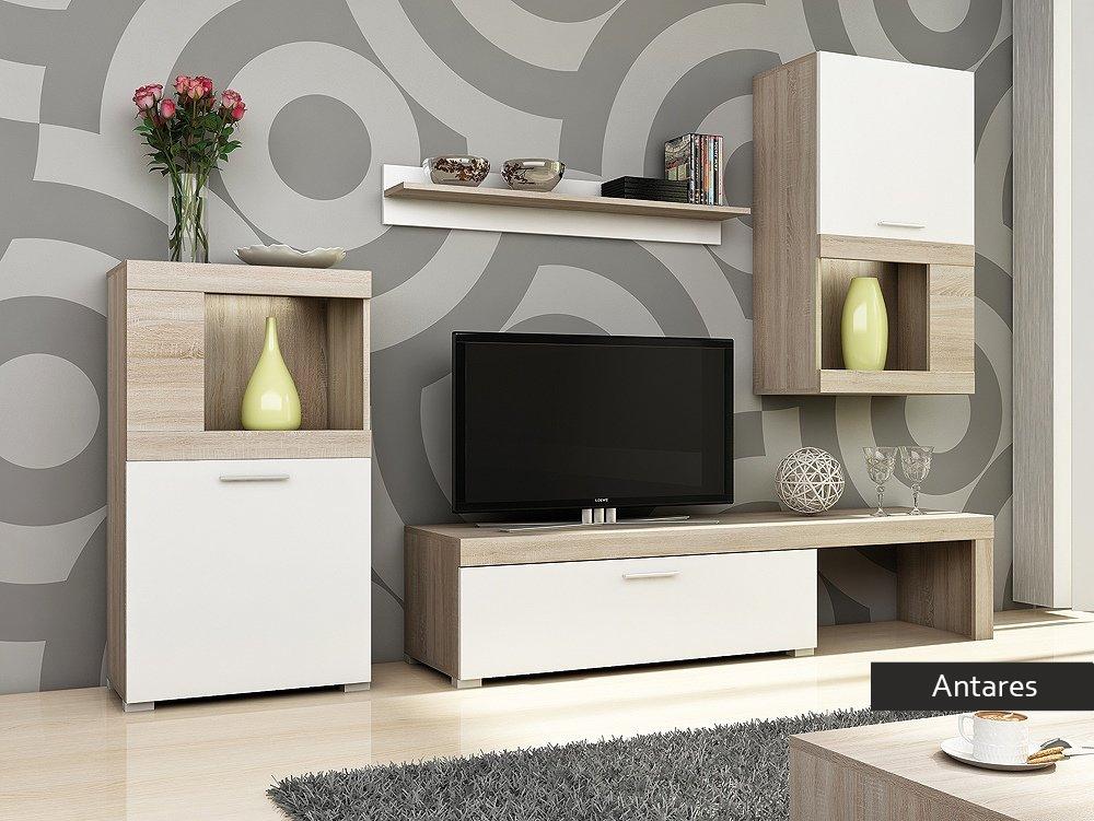 Soggiorno bianco e rovere Antares, mobile porta tv, composizione