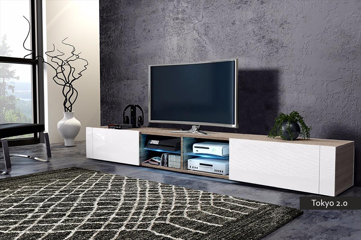 Mobile soggiorno tokyo 2 0 porta tv moderno con led 200 cm for Mobile soggiorno bianco