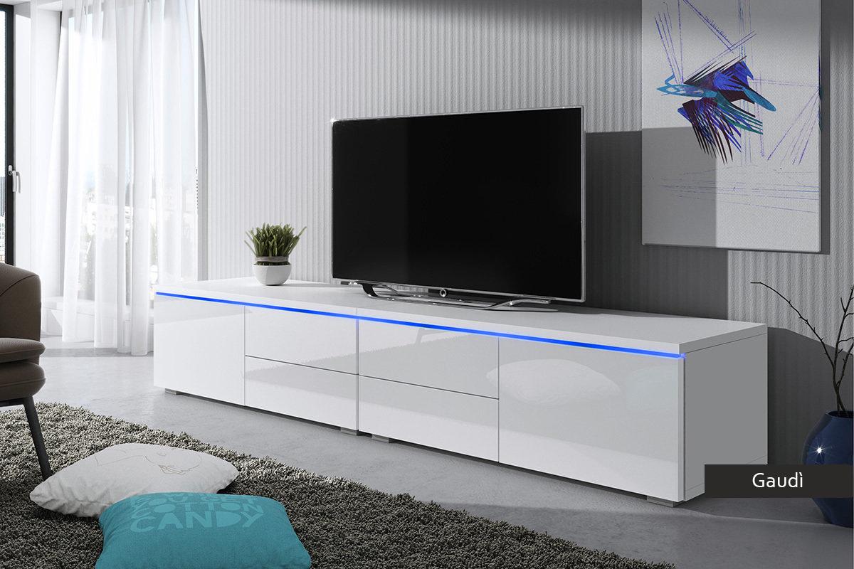 Porta tv grande con led gaud mobile con cassetti in 4 colori for Layout di soggiorno aperto