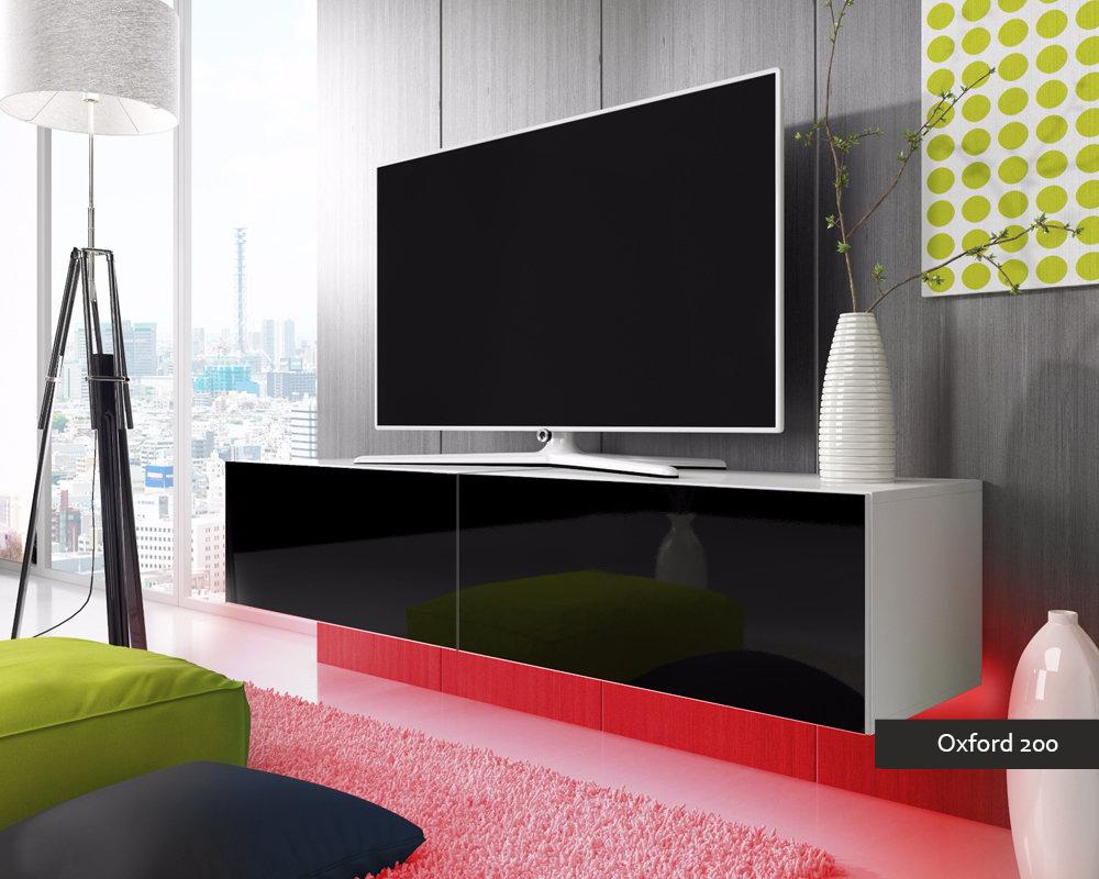 Porta tv oxford soggiorno con led blu o rosse mobile appeso