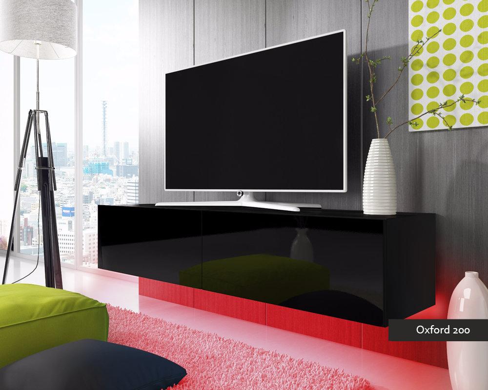 Porta tv oxford 200 soggiorno con led blu o rosse mobile for Mobile da soggiorno moderno