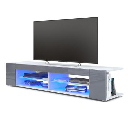 Porta TV Moderno con Luce LED 12 Colori e Mensola a 2 livelli per Riporre e Decorare Ejoyous 134 x 39 x 29 cm Porta TV Lucido